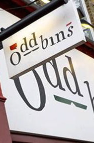 Shop signs for Oddbins wine merchants