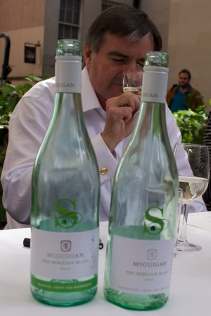 Australian winemaker Neil McGuigan sips some of his The Semillon Blanc in Dublin