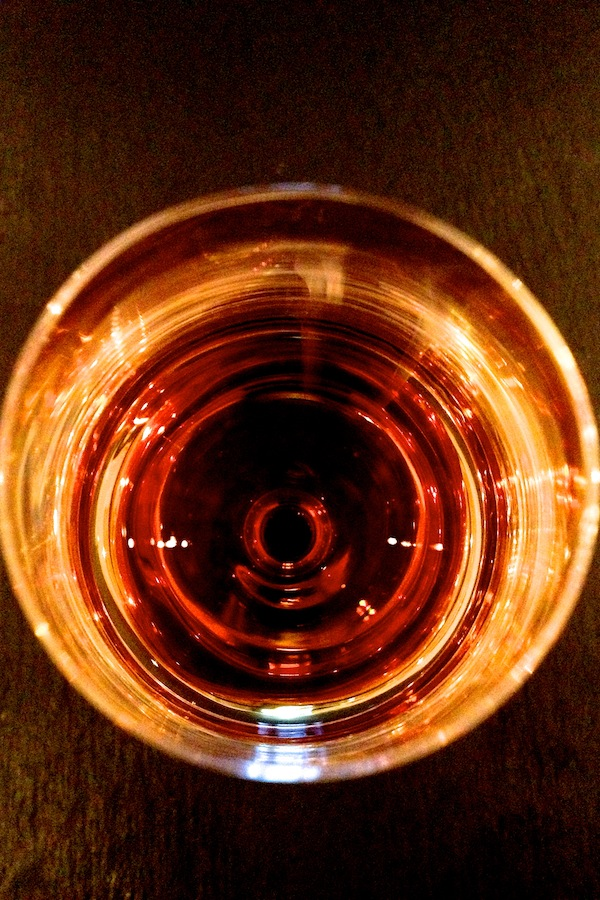 Aerial view of some Madeira in a glass