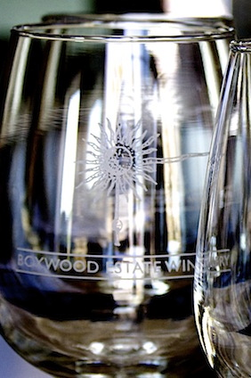 wine glasses with logo of Boxwood Winery, VA