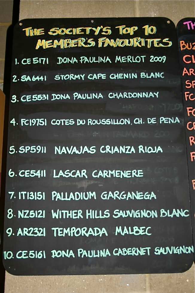 Blackboard with The Wine Society's members' favourite wines