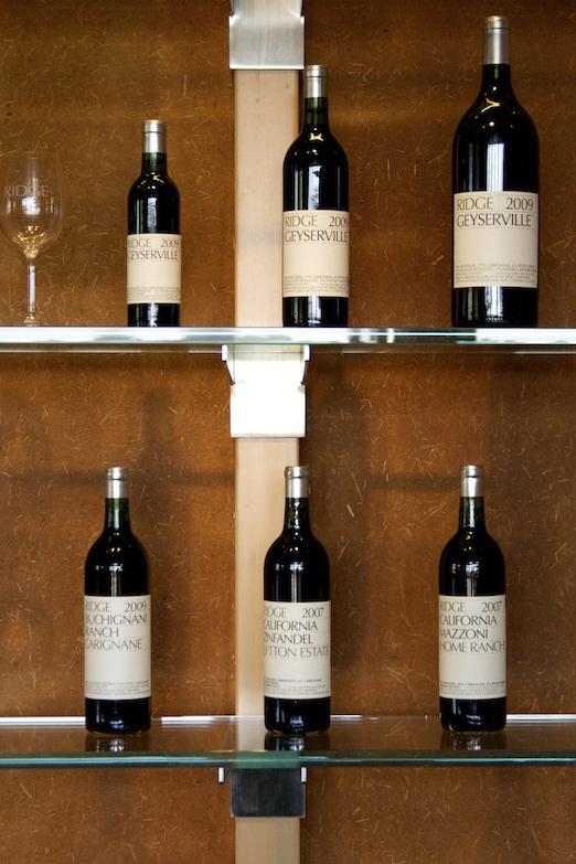 Bottles of Zinfandel at Ridge Lytton Springs winery , Dry Creek Valley, Sonoma