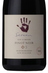 Close up of Seresin Sun & Moon Pinot Noir label