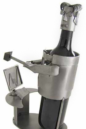 Metal sculpture of wine bottle hitting a computer