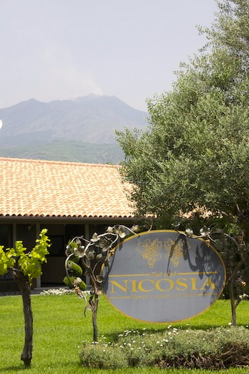 Nicosia winery in Sicily with Etna smoking in the background