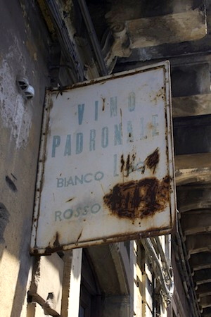 "Sign which says ""Vino Padronale"" outside Cantina Biondi in Sicily"