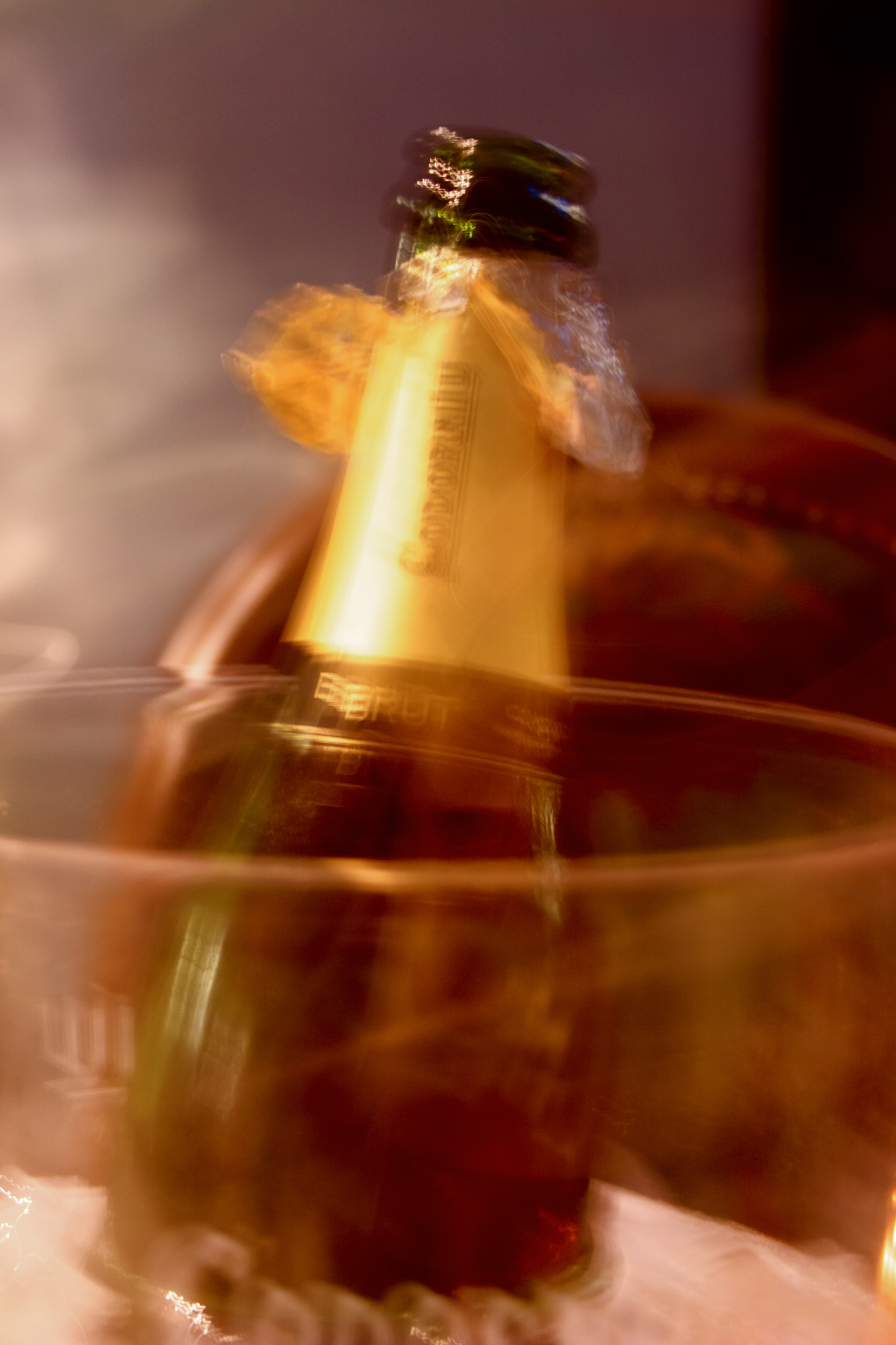 Abstract view of an opened bottle of Cava