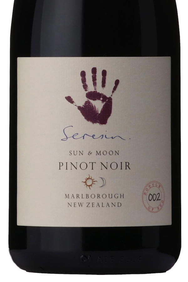 Close up of Seresin Sun & Moon Pinot Noir label
